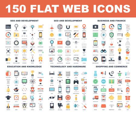 onderwijs: Vector set van 150 platte web pictogrammen op volgende thema's - SEO en ontwikkeling, het bedrijfsleven en financiën, onderwijs en kennis, technologie en hardware, winkels en handel.