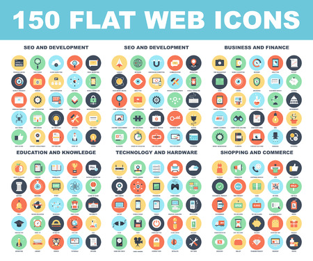 knowledge: Vector set of 150 flat web icons on following themes - SEO and development, business and finance, education and knowledge, technology and hardware, shopping and commerce.