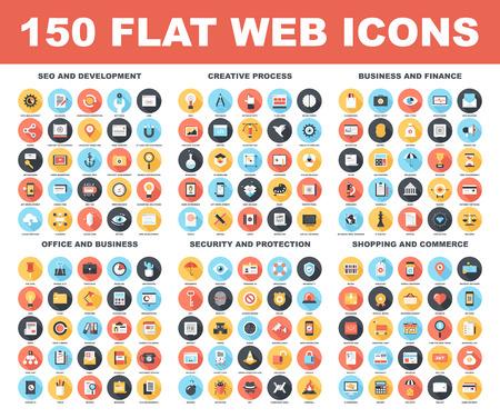 비즈니스: 검색 엔진 최적화 및 개발, 창작 과정, 비즈니스 및 금융, 사무실, 비즈니스, 보안 및 보호, 쇼핑, 상업 - 다음 주제에 긴 그림자와 함께 150 평면 웹 아이콘 벡터 세트