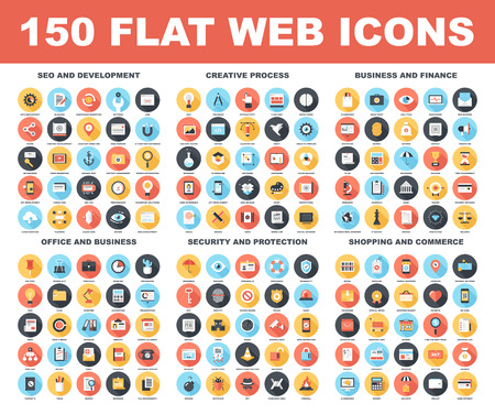 community: Vector set of 150 flat web icons with long shadow on following themes - SEO and development, creative process, business and finance, office and business, security and protection, shopping and commerce Illustration