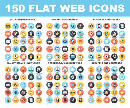 development: Vector set of 150 flat web icons with long shadow on following themes - SEO and development, business and finance, education and knowledge, technology and hardware, shopping and commerce.