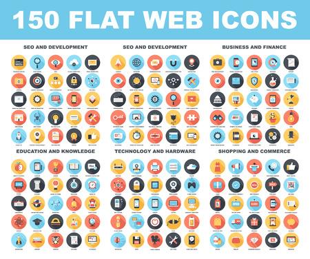 Wektor zestaw ikon web 150 mieszkania z długim cieniem na następujących tematach - SEO i rozwoju, biznesu i finansów, edukacji i wiedzy, technologii i sprzętu, zakupy i handlu.