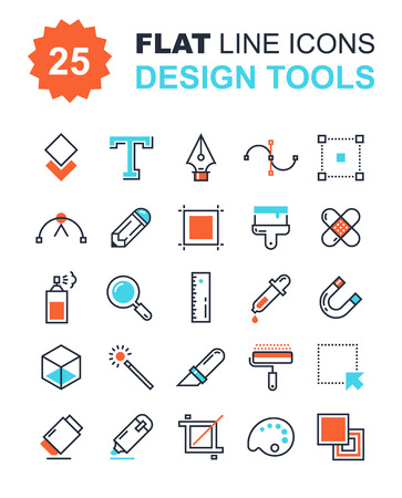 design process: Abstract vector collection of flat line design tools icons. Elements for mobile and web applications. Illustration