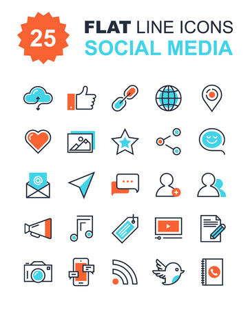 medios de comunicación social: colección vectorial de iconos de redes sociales de línea plana. elementos de diseño para aplicaciones móviles y web. Vectores