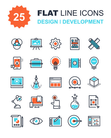 web: Abstract vector collection of flat line design and development icons. Elements for mobile and web applications. Illustration