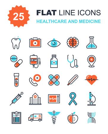 medicina: Colección de vectores de fondo de cuidado de la salud y de la medicina iconos de línea plana. Elementos para aplicaciones móviles y web.
