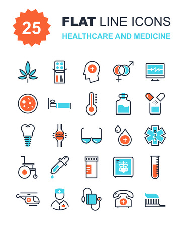 emergencia medica: Colecci�n de vectores de fondo de cuidado de la salud y de la medicina iconos de l�nea plana. Elementos para aplicaciones m�viles y web.