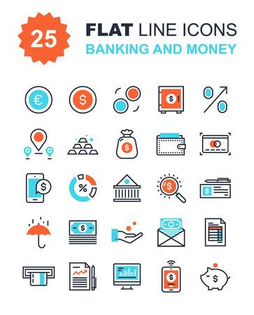 Abstract vector collectie van vlakke lijn bankieren en geld pictogrammen. Elementen voor mobiele en web applicaties. Stock Illustratie