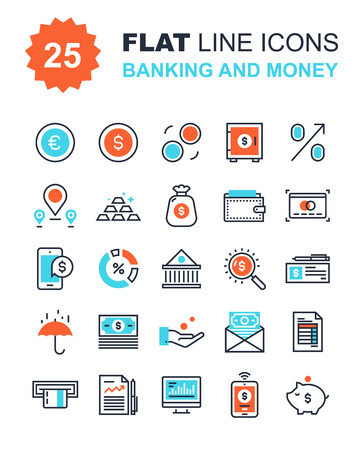 bank deposit: Abstract vector collection of flat line banking and money icons. Elements for mobile and web applications.