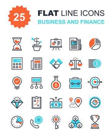 invoices: Abstract vector collection of flat line business and finance icons. Elements for mobile and web applications. Illustration