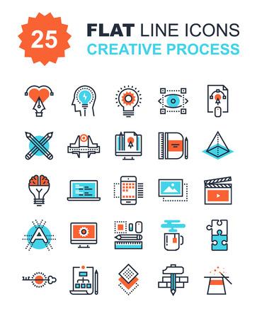 process: Colección abstracta del vector de la línea plana iconos del proceso creativo. Elementos para aplicaciones móviles y web.