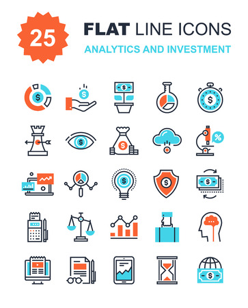 research: Abstract vector collection of flat line analytics and investment icons. Elements for mobile and web applications. Illustration
