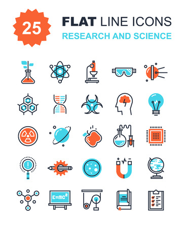 science icons: Abstract vector collection of flat line research and science icons. Elements for mobile and web applications. Illustration
