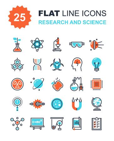Colección de vectores de fondo de la investigación y la ciencia iconos de línea plana. Elementos para aplicaciones móviles y web.