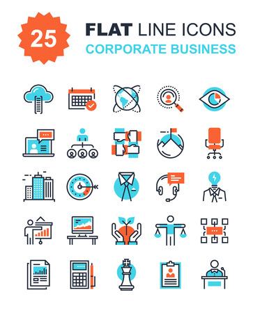 mision: Colección abstracta del vector de la línea plana iconos de negocios de las empresas. Elementos para aplicaciones móviles y web.