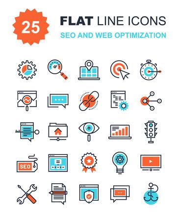 交通: フラット ライン SEO と web 最適化アイコンの抽象的なベクトルのコレクションです。携帯電話用の要素は、web アプリケーション。