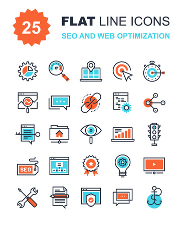Abstract vector collection of flat line SEO and web optimization icons. Elements for mobile and web applications. Иллюстрация