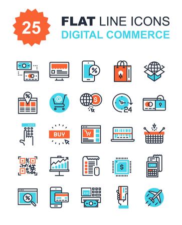 Abstract vector collectie van vlakke lijn digitale commerce pictogrammen. Elementen voor mobiele en web applicaties. Stock Illustratie