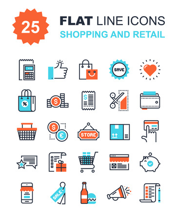 mobile shopping: Abstract vector collection of flat line shopping and retail icons. Elements for mobile and web applications.