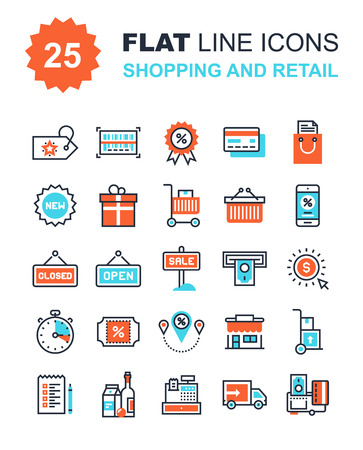 shopping bag icon: Abstract vector collection of flat line shopping and retail icons. Elements for mobile and web applications.