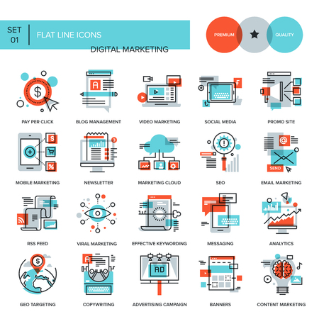 digital marketing: Abstract vector collection of flat line digital marketing icons. Elements for mobile and web applications.