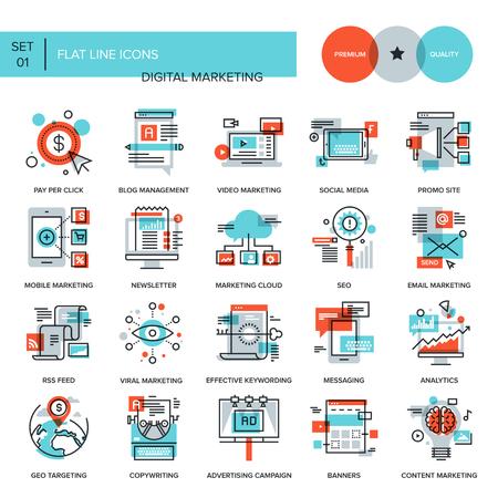 red informatica: Colecci�n abstracta del vector de la l�nea plana iconos de marketing digital. Elementos para aplicaciones m�viles y web.