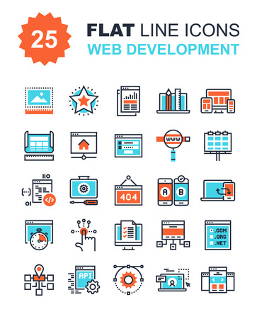 web: Abstract vector collection of flat line web development icons. Elements for mobile and web applications. Illustration