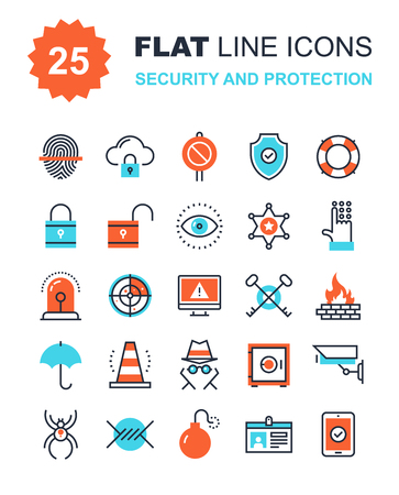 Abstract vector collection of flat line security and protection icons. Elements for mobile and web applications.