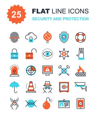 privacidad: Colección abstracta del vector de los iconos de seguridad y de protección de la línea plana. Elementos para aplicaciones móviles y web. Vectores