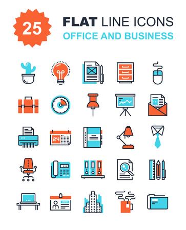 contabilidad: Colección de vectores de fondo de iconos de oficina de línea y de negocios planas. Elementos para aplicaciones móviles y web.