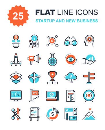 metas: Colecci�n de vectores de fondo de inicio de l�nea plana y nuevos iconos de negocios. Elementos para aplicaciones m�viles y web.