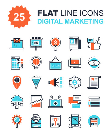 mail marketing: Abstract vector collection of flat line digital marketing icons. Elements for mobile and web applications.