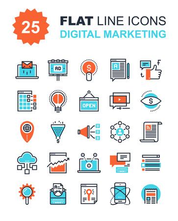 redes de mercadeo: Colección abstracta del vector de la línea plana iconos de marketing digital. Elementos para aplicaciones móviles y web.