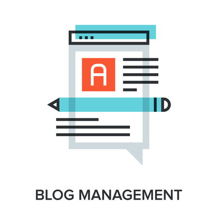 Vector illustration of blog management flat line design concept.