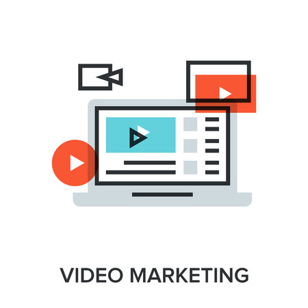 viral marketing: Vector illustration of video marketing flat line design concept.