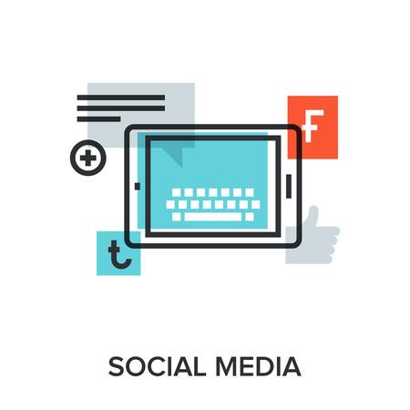 Vector illustration of social media flat line design concept.  イラスト・ベクター素材