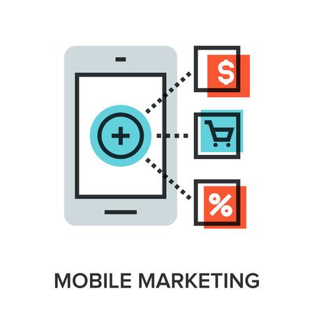 Vector illustration of mobile marketing flat line design concept. Stock Illustratie