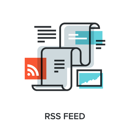 press release: Vector illustration of RSS feed flat line design concept. Illustration