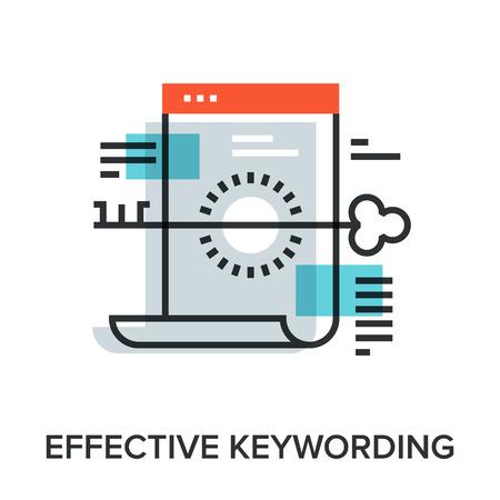 keywording: Vector illustration of effective keywording flat line design concept.