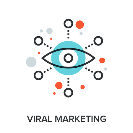 press release: Vector illustration of viral marketing flat line design concept. Illustration