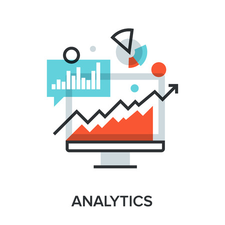 Vector illustration of analytics flat line design concept. Reklamní fotografie - 46347770