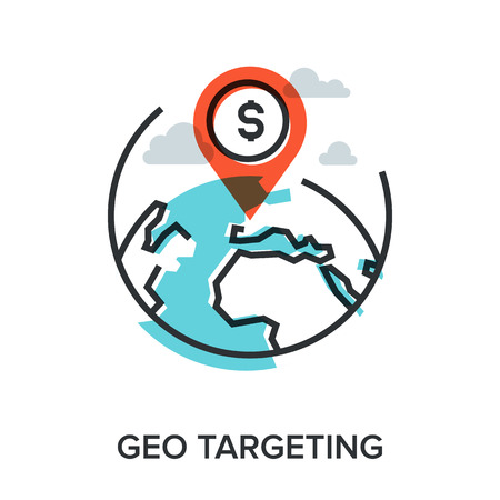 targeting: Vector illustration of geo targeting flat line design concept. Illustration