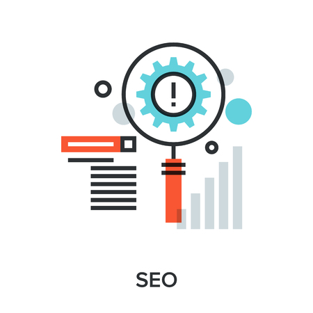 Vector illustration of search engine optimization flat line design concept. Иллюстрация