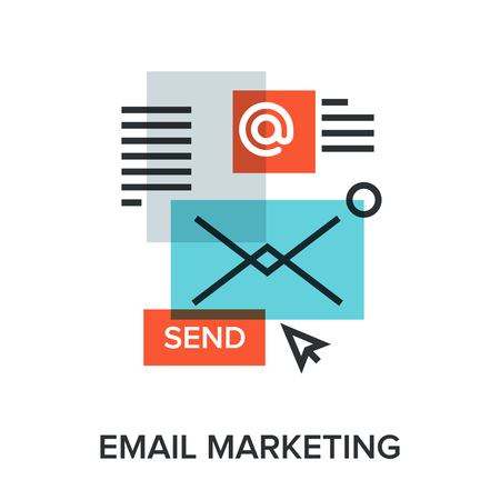 release: Vector illustration of email marketing flat line design concept.