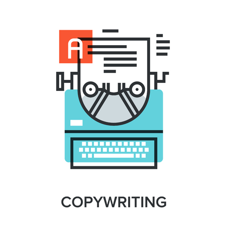 copywriting: Vector illustration of copywriting flat line design concept.