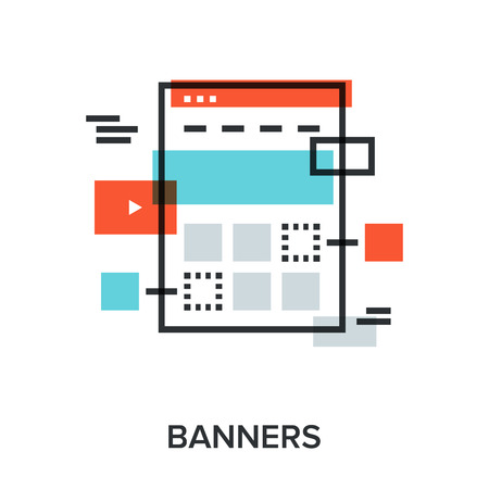 Vector illustration of banners flat line design concept.