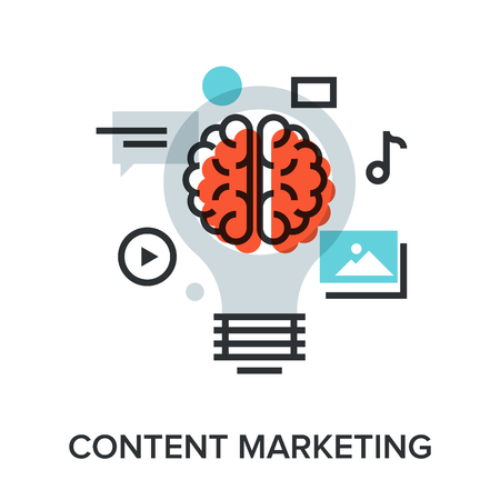 release: Vector illustration of content marketing flat line design concept.