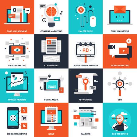 redes de mercadeo: Colección de vectores de fondo de los iconos de marketing digital planas. Elementos para aplicaciones móviles y web.