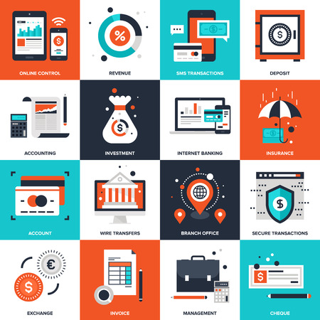 contabilidad: Colecci�n abstracta del vector de la banca y de dinero iconos planos. Elementos para aplicaciones m�viles y web.