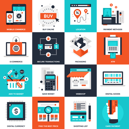ecommerce: Abstract vector collection of flat digital commerce icons. Elements for mobile and web applications.